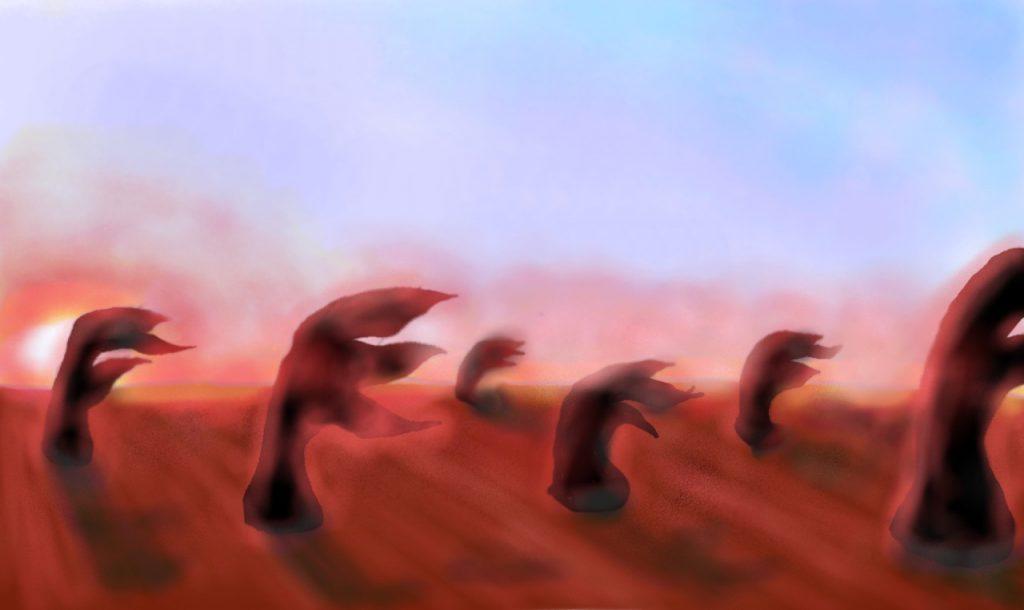「Earth 2.0」こと Kepler-186f に生息する植物の想像図(クレジット:滋賀県立守山高校 下崎紗綾)