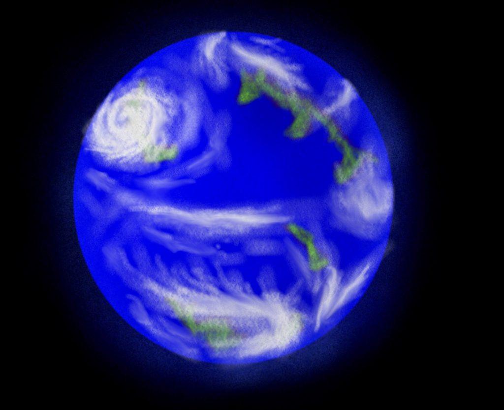 「地球の従兄弟」こと Kepler-452b の想像図(クレジット:滋賀県立守山高校 藤田汐音)